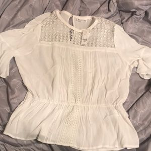 NY and Co white peplum top